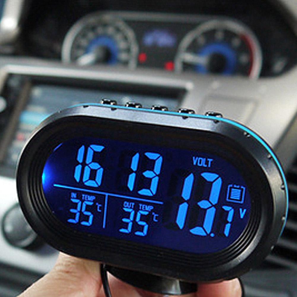 Digital Car Auto LCD Dashboard Blue Backlight Thermometer Time Clock Calendar UK
