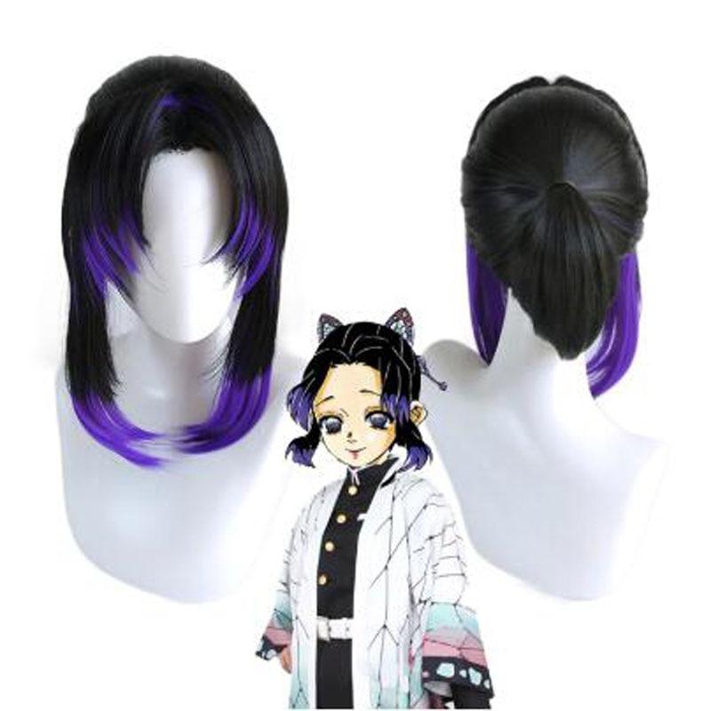 Anime Demon Slayer Kimetsu no Yaiba Kochou Shinobu Wig Cosplay Costume Women Heat Resistant Synthetic Hair Wigs + Wig Ca