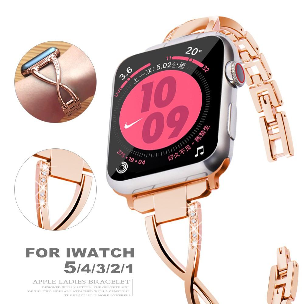 Apple Watch strap 38 มม. 42 มม. 40 มม. 44 มม. สายสแตนเลส iWatch series 5 4 3 2 1 crystal diamond strap