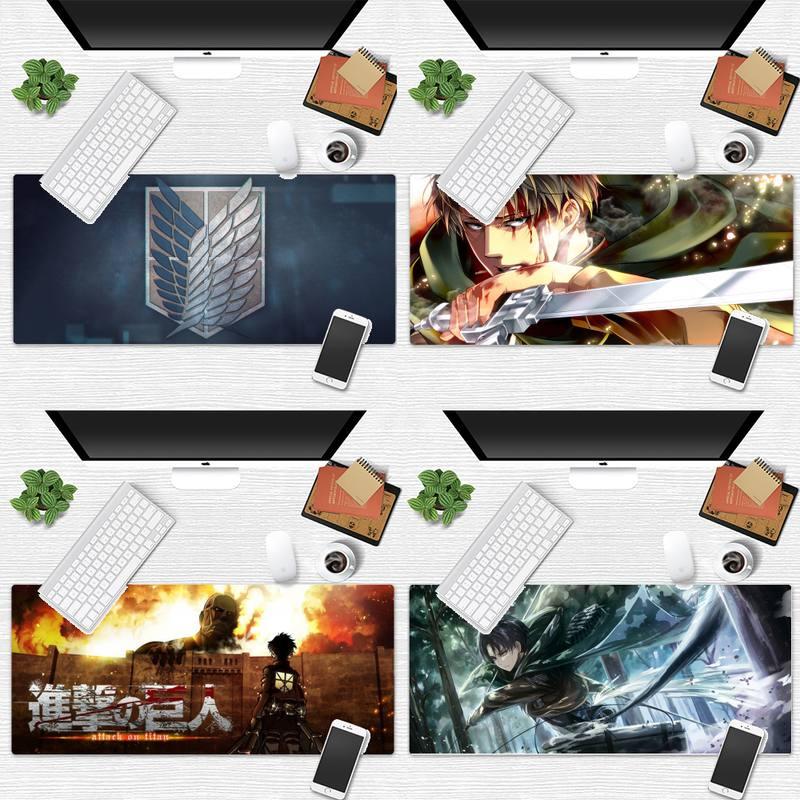 แผ่นรองเมาส์ Attack on Titan Gaming Player desk laptop Rubber Mouse Mat Game Office Work Mouse Mat pad  Laptop Cushion mouse pad
