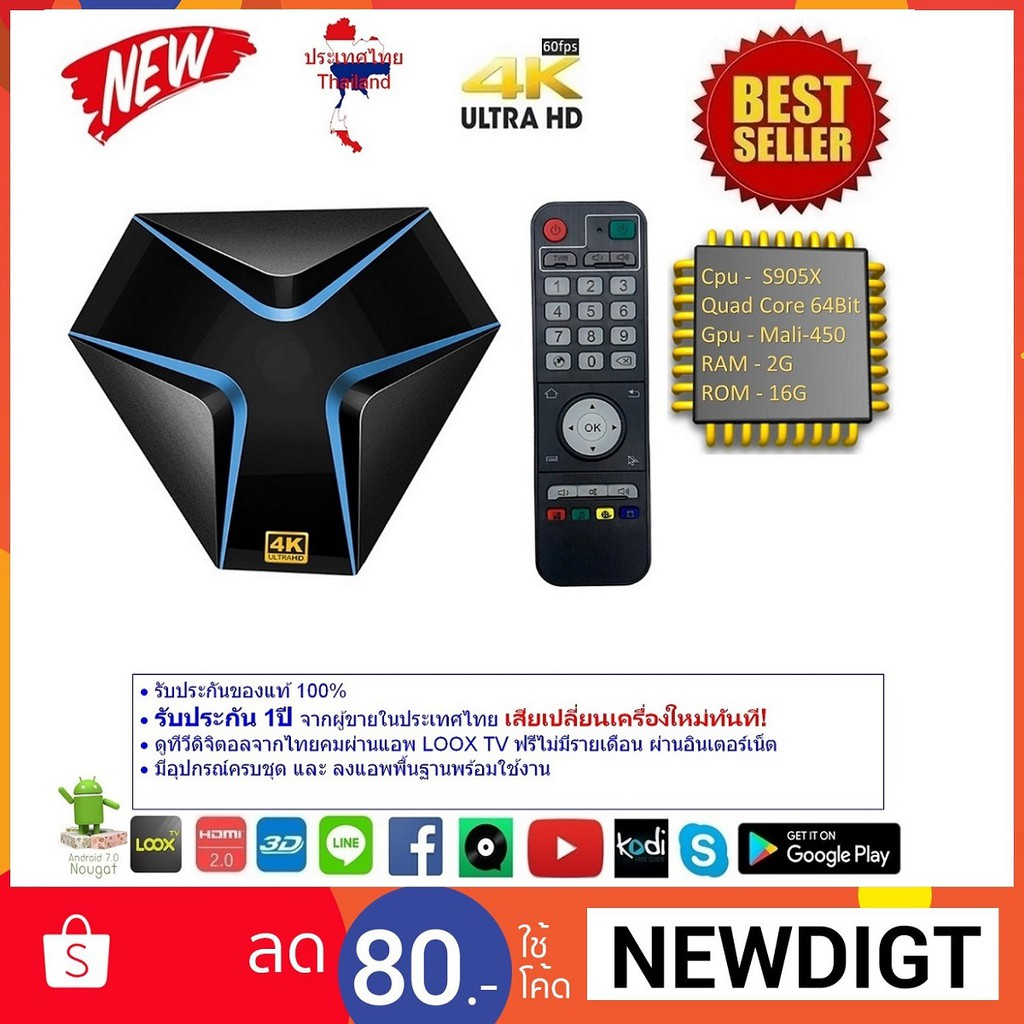 Magicsee Iron Cpu S905X RAM 2G ROM 16G UHD 4K Android Nougat 7 1 2