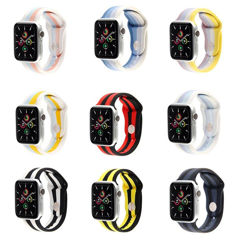 สายนาฬิกาข้อมือซิลิโคนสําหรับ Apple Watch Band Series 6 Se 5 4 3 2 1 42 มม . 44 มม . 38 มม . 40 มม .