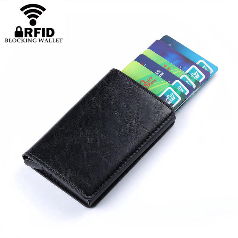 Review กระเป๋าใส่บัตรเครดิต Unisex RFID Vintage Crazy Horse PU Leather Card Wallet