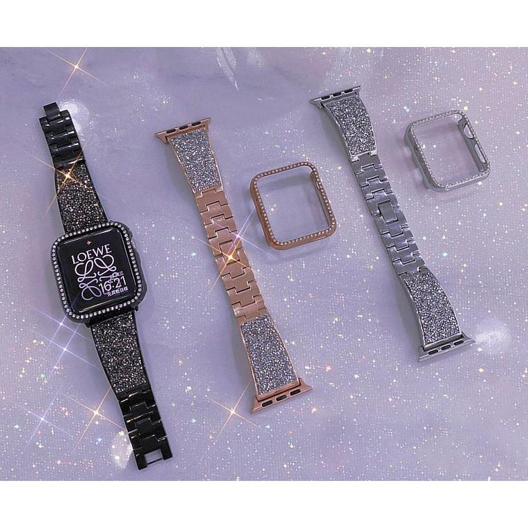 ❋Luxury สายนาฬิกา + เคส Apple Watch Straps เหล็กกล้าไร้สนิม เพชรพลอย สาย Applewatch Series 6 5 4 3 2 1, Apple Watch SE ส