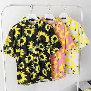Review Real shot new summer comfortable chrysanthemum print pattern casual short-sleeved shirt