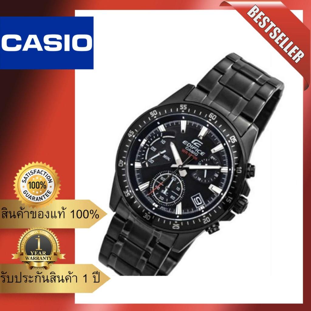 นาฬิกาสำหรับสุภาพบุรุษ นาฬิกา Casio Edifice โครโนกราฟรมดำ เรซซิ่งสไตล์ สายสแตนเลส รุ่นEFV-540DC-1A ของแท้รับประกันศูนย์