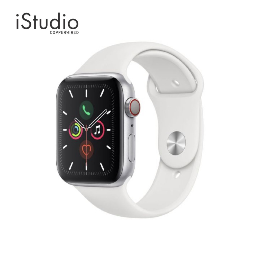 Apple Watch Series 5 (GPS+Cellular) 44mm. Silver Aluminium Case with White Sport Band l iStudio By Copperwired.