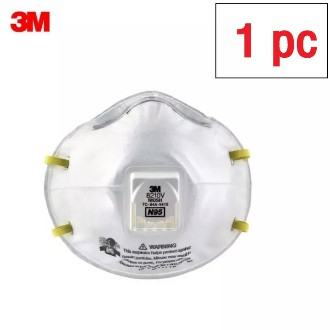 3M 8210V N95 ชนิดมีวาล์ว (1ชิ้น) หน้ากากป้องกันฝุ่น 3M Valved PM2.5 8210V 8210 (เอ็น95)
