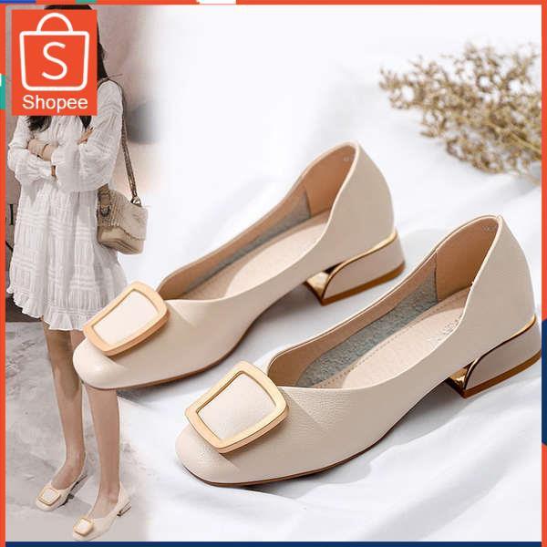 รองเท้าคัชชู ใส่สบาย สำหรับผู้หญิง รุ่นสีเรียบใส่ทำงาน รองเท้าเด็ก 2020 ใหม่สแควร์แบนแบนรองเท้าผู้หญิงฤดูร้อนป่ากางเกงลำ