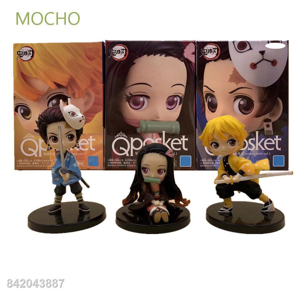 ☎ฟิกเกอร์ Mocho Mini Figure Model Demon Slayer ของเล่นสําหรับเด็ก 3 ชิ้น