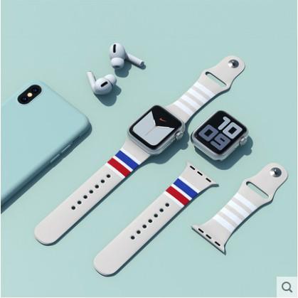แฟชั่นสตรีทThom Borwne 2021 apple watch strap สายซิลิโคนเหลว iwatch series SE 6 5 4 3 2 1 สาย applewatch 38 40 42 44mm