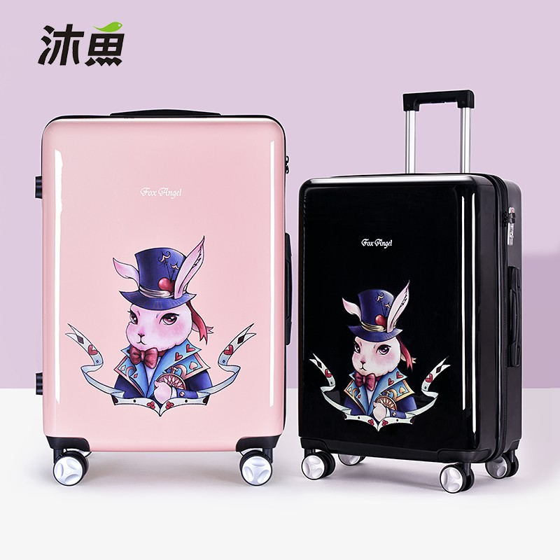 กระเป๋าเดินทาง Muyu กระเป๋าเดินทางขนาด 20 นิ้วบุคลิกภาพกระเป๋าเดินทางการ์ตูนนักเรียนกระเป๋าเดินทาง 24 นิ้วกระเป๋าเดินทางหญิง