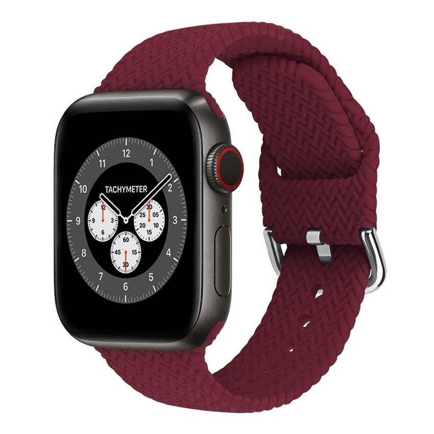 Newst Braided Silicone Loop Strap for Apple Watch Band 44 40 38 42 MM Solid Color Elastic Belt IWatch Series SE 6 5 4 3 2 1 Watchband Replacement Bracelet