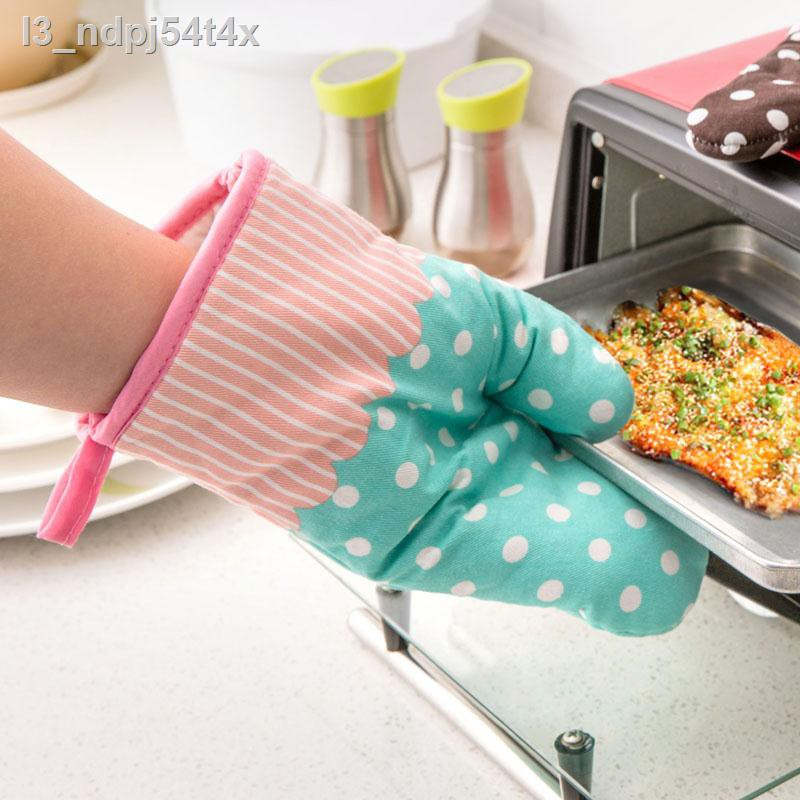 ถุงมือเตาอบOven gloves□❇ถุงมือป้องกันน้ำร้อนลวกแบบหนาสองชั้น, เตาอบฉนวนความร้อน, เตาอบพิเศษ, เตาไมโครเวฟ, การอบ, ห้องค