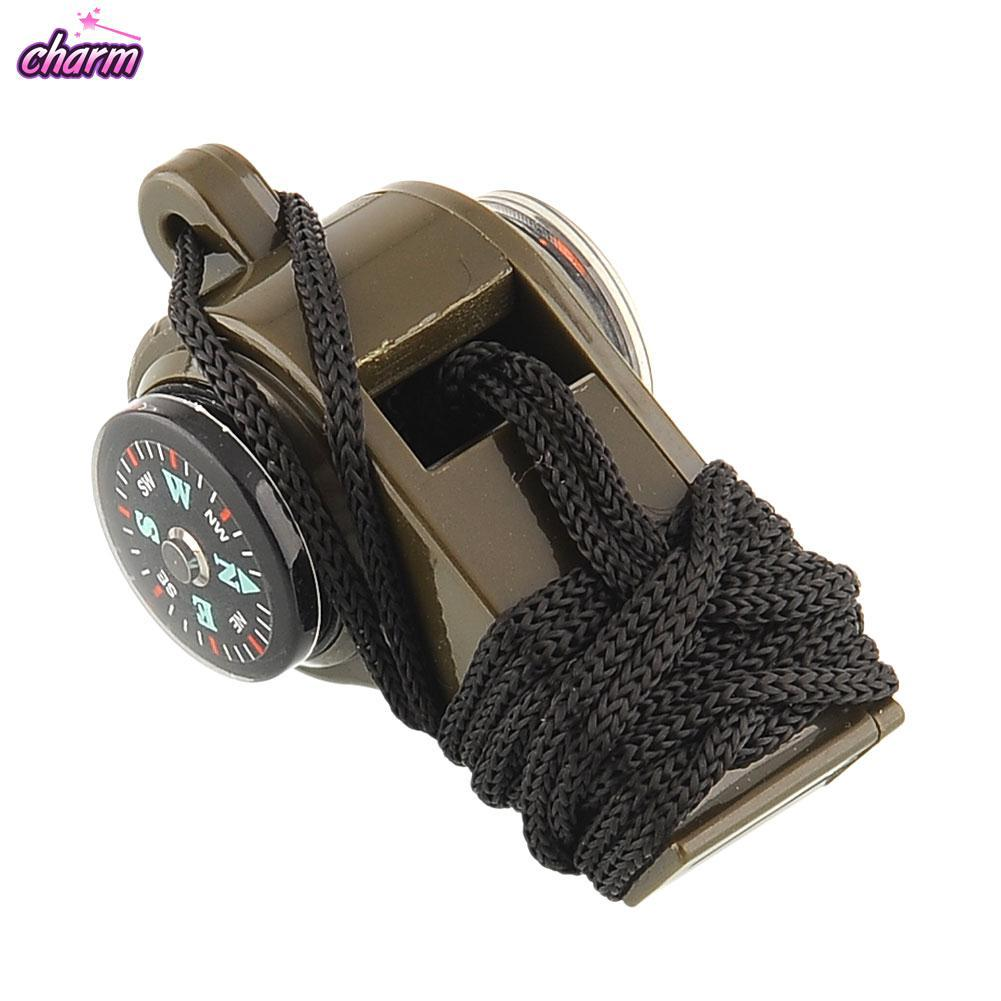 1PC 3 in 1 Camping Emergency Survival Gear Whistle Compass Thermometer Lanyard