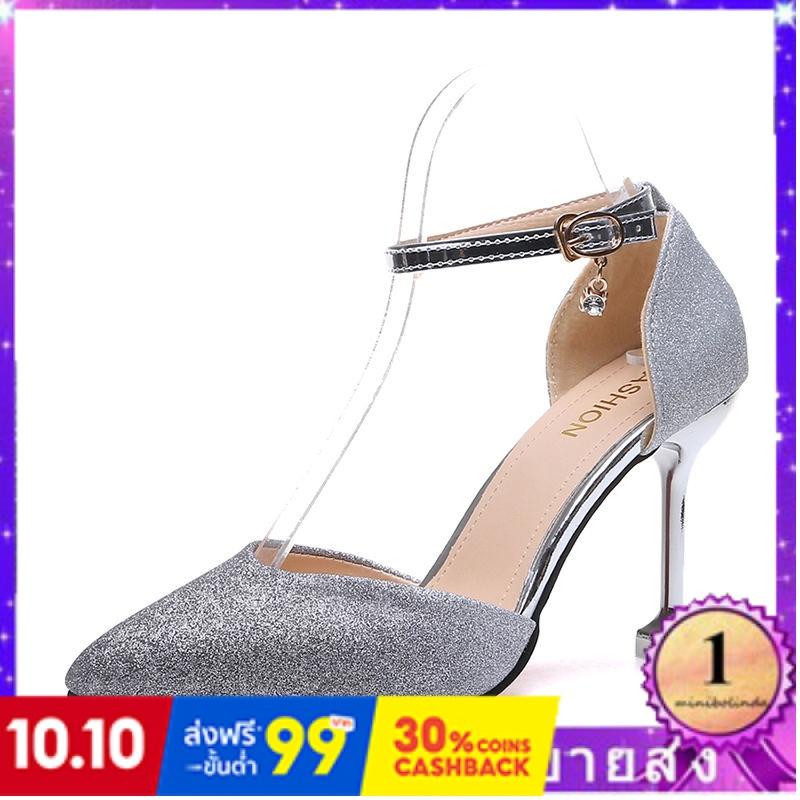 ⭐👠รองเท้าส้นสูง หัวแหลม ส้นเข็ม ใส่สบาย New Fshion รองเท้าคัชชูหัวแหลม  รองเท้าแฟชั่นใหม่ของผู้หญิงรองเท้าแตะเกาหลีเลื่อ