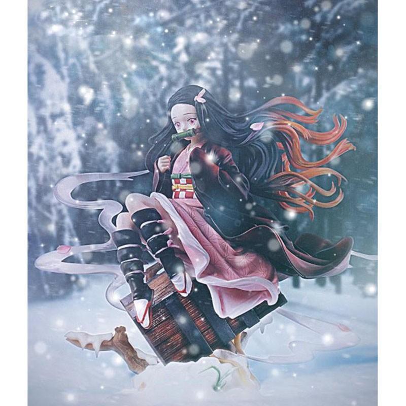 Demon Slayer Kamado Nezuko Statue Stove door Beans limited edition GK Action Figure Collectible Model Toy BOX 31CM Q249