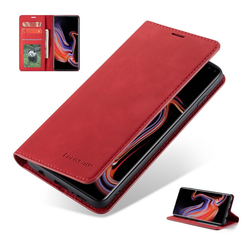เคส Galaxy S10+⭐กระเป๋าสตางค์ ดึงดูดแม่เหล็ก หนังแท้ พลิกซองโทรศัพท์⭐S10E S9+ S8+ S7 Edge S7Edge PhoneCase S10Plus S9Plus S8Plus PhoneCover Samsung⭐Leather Flip Braket Wallet Phone Cover Case⭐