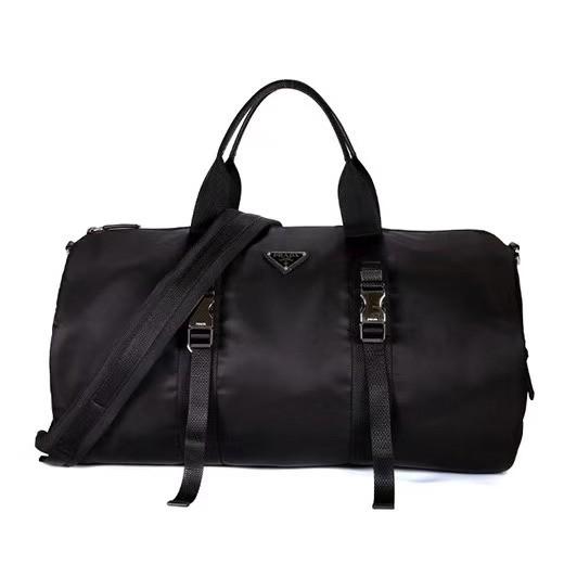 ของแท้ 100% PRADA ใหม่ผู้ชายและผู้หญิงกระเป๋า LOGO ไนลอนกระเป๋าสะพายขนาดใหญ่กระเป๋าสะพายกระเป๋าเดินทางกระเป๋า