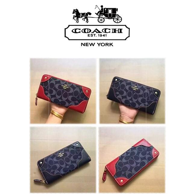 [UG]Morningstar กระเป๋าถือ COACH 53769 ผ้าแคนวาสผ้าซาตินและกระเป๋าสตางค์หนังวัวกระเป๋าสตางค์กระเป๋าคลัท