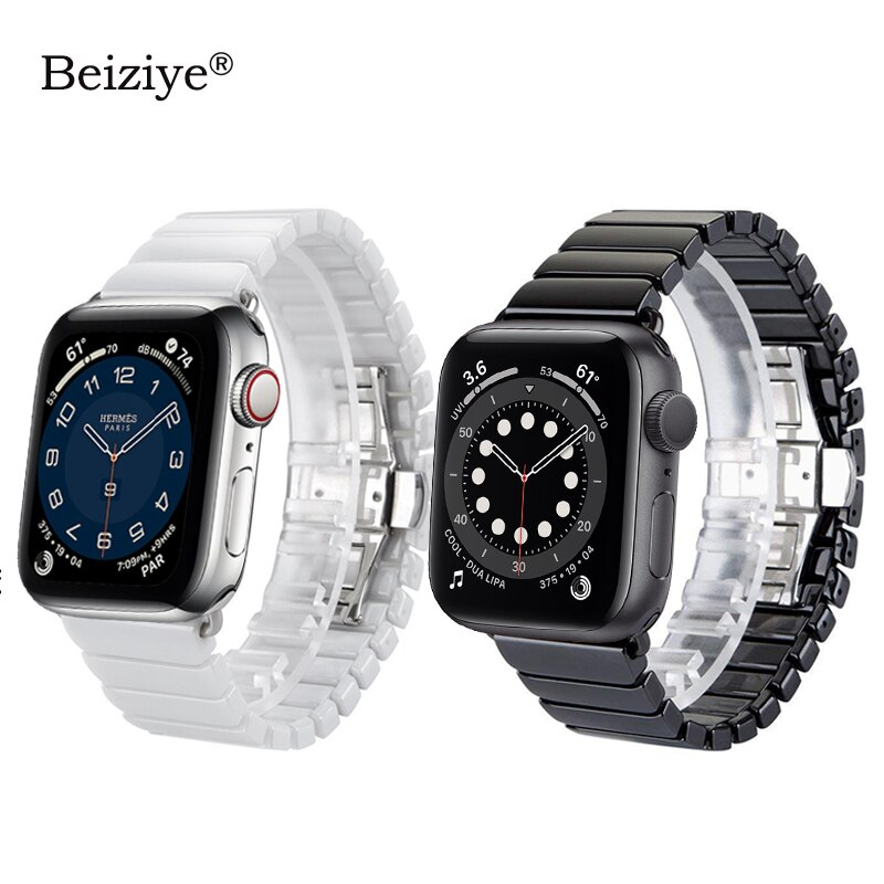 Apple watch ceramic strap, 38mm and 42mm butterfly buckle spare strap of Iwatch 6, 5, 4, 40mm and 44mm series strap