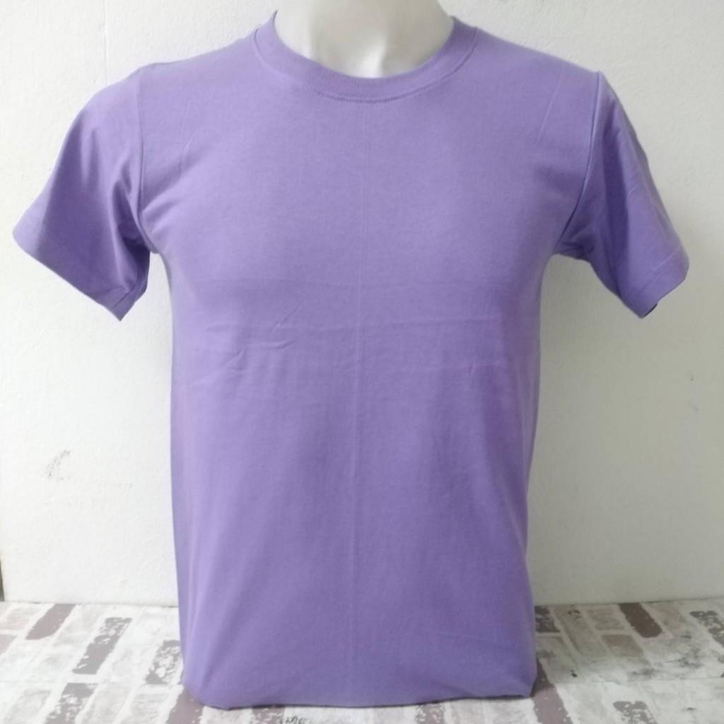 เสื้อยืด คอกลม สีม่วงอ่อน ผ้าCotton100%