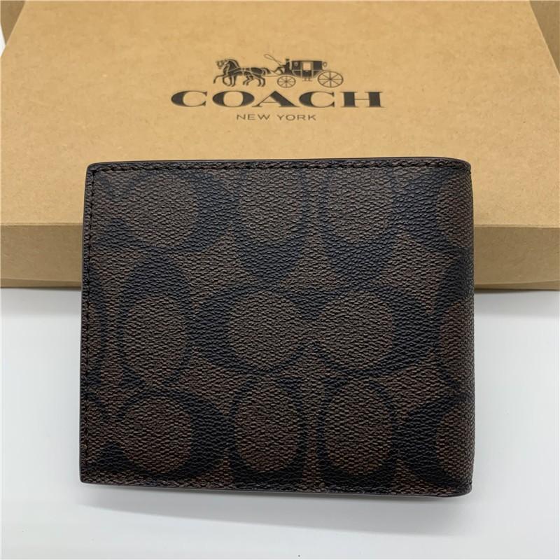 【24 ชม. จัดส่งทันที】แท้%COACH F74736 กระเป๋าเงินผู้ชายกระเป๋าสตางค์ใบสั้น แพ็คเกจการ์ด ของขวัญศูนย์กระเป๋าสตางค์ของ yisB