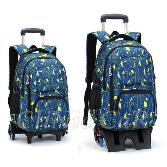 กระเป๋าเดินทางหรือกระเป๋านักเรียน V.9.1  ล้อลาก 6 ล้อ (กรม เขียวริ้ว)