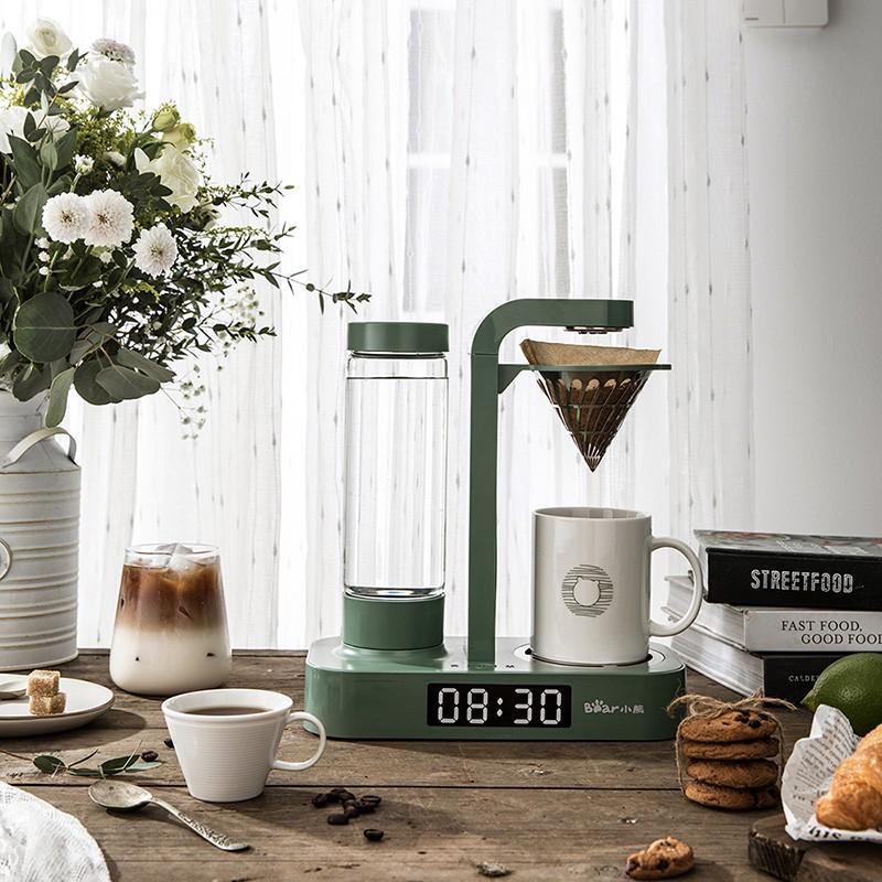 Bear  Little Bear เครื่องทำกาแฟอเมริกันนาฬิกาครัวเรือนอัตโนมัติขนาดเล็กหม้อกาแฟหยดและกาน้ำชาใช้คู่