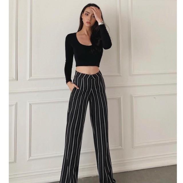 KIMBER BLACK PANTS01 กางเกงขายาว สีดำเอวสูง