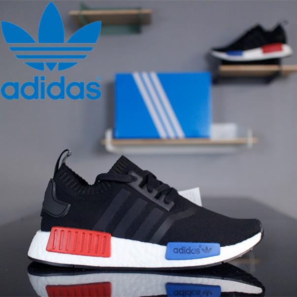 Adidas NMD_R1 Primeknit S79168 รองเท้าผ้าใบลำลองสีดำขาวน้ำเงินและแดง