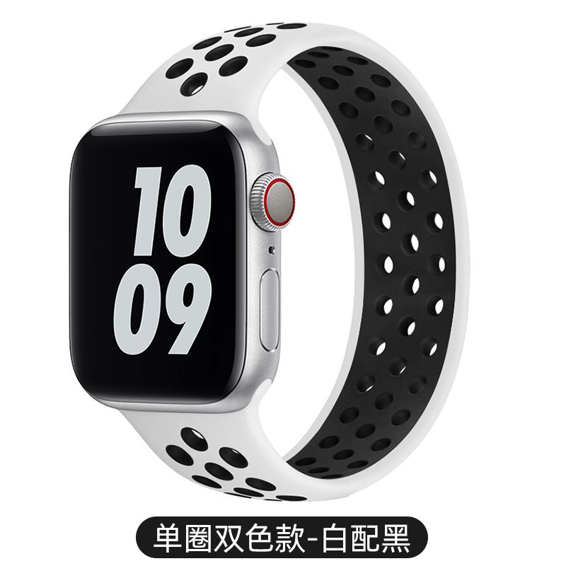 สายรัดใช้ได้iwatchสายนาฬิกา Apple แทนที่ด้วยซิลิโคนสองสีกีฬาระบายอากาศหลุมapplewatch/1/2/3/5/SE/4/6สายรัดข้อมือแฟชั่นบุคลิกภาพ unisex40/44mm