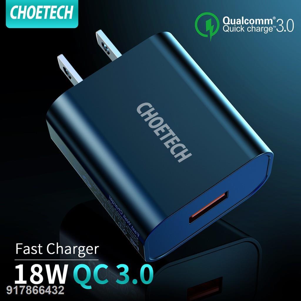 ₪❀▫CHOETECH QC 3.0 Fast Charger หัวชาร์จ usb อุปกรณ์ชาร์จ 18W Quick Charging ค่าการชาร์จแบบเร็ว ผนังที่ชาร์จอย่างรวดเร็