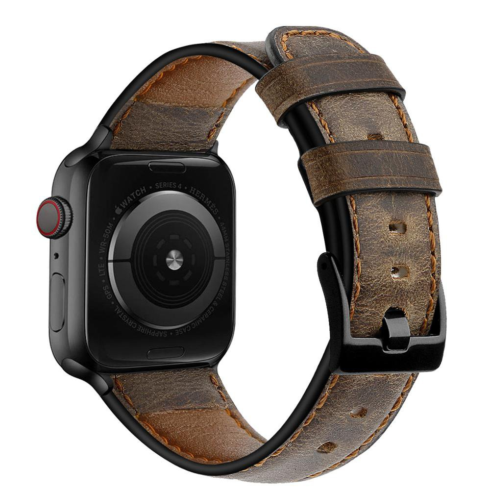 Strap for Apple watch band 44mm 40mm iWatch 42mm 38mm Retro Cow Leather watchband bracelet correa for iwatch series 6 5