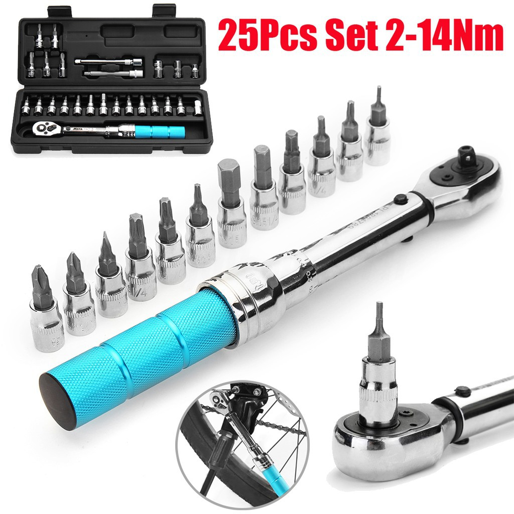 """15 Pcs//Set 2-14Nm Bicycle Bike 1//4/"""" Torque Wrench Allen Key Tool Socket Set Kit"""