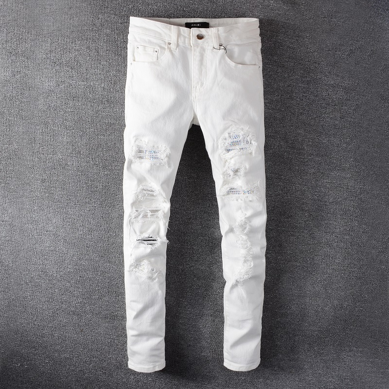Amiri Jeans 2020 Amiriร้อนเจาะแพทช์หลุมกางเกงยีนส์ ins ยืดหยุ่นบางถนนน้ำแบรนด์แบรนด์สีขาวฟุตกางเกงผู้ชาย