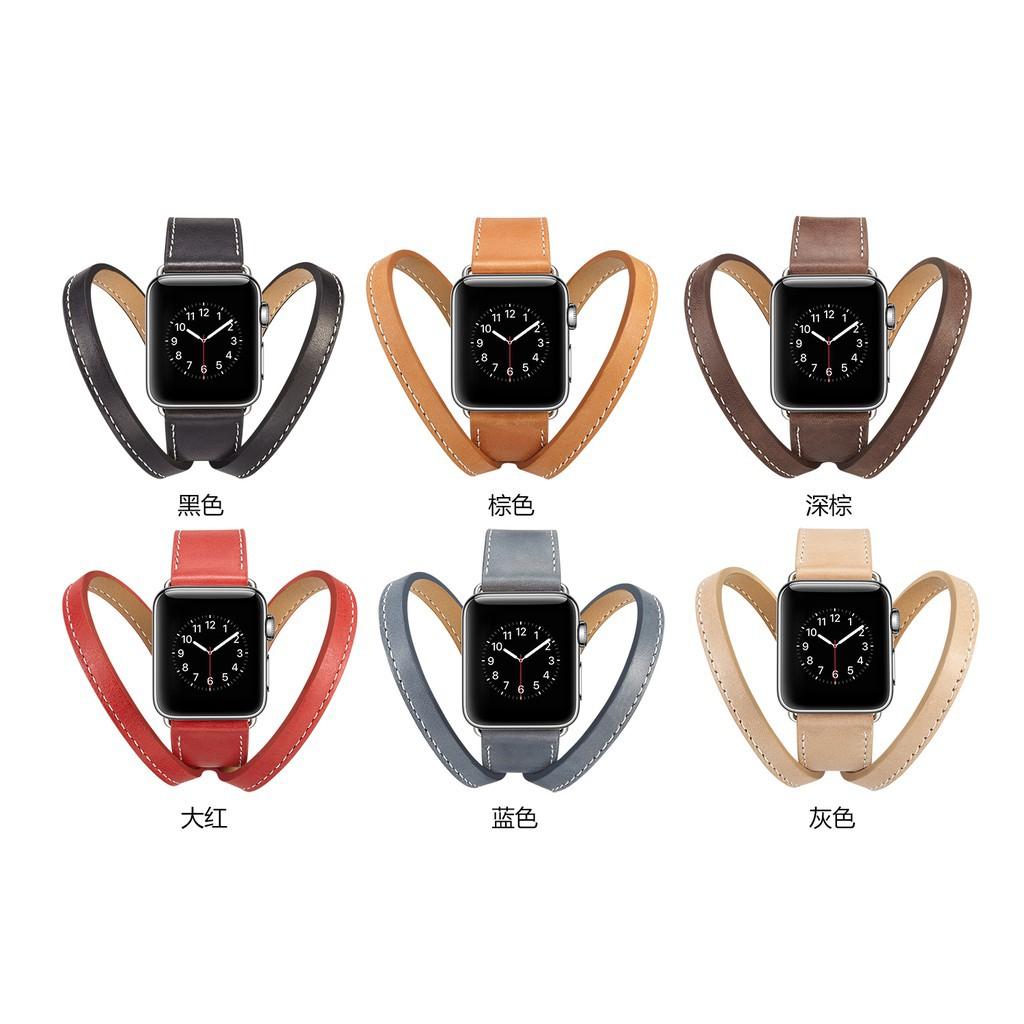 หนังวัวสองห่วง  apple watch strap สายนาฬิกาข้อมือ iwatch series SE 6 5 4 3 2 1  สาย applewatch 38 40 42 44mm