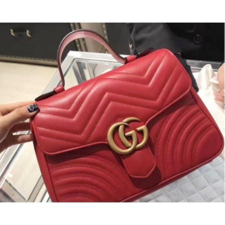 [XD]ของแท้ GUCCI GG Marmont matelassé Shoulder Bag Handbag 498110 Red / Black Spot