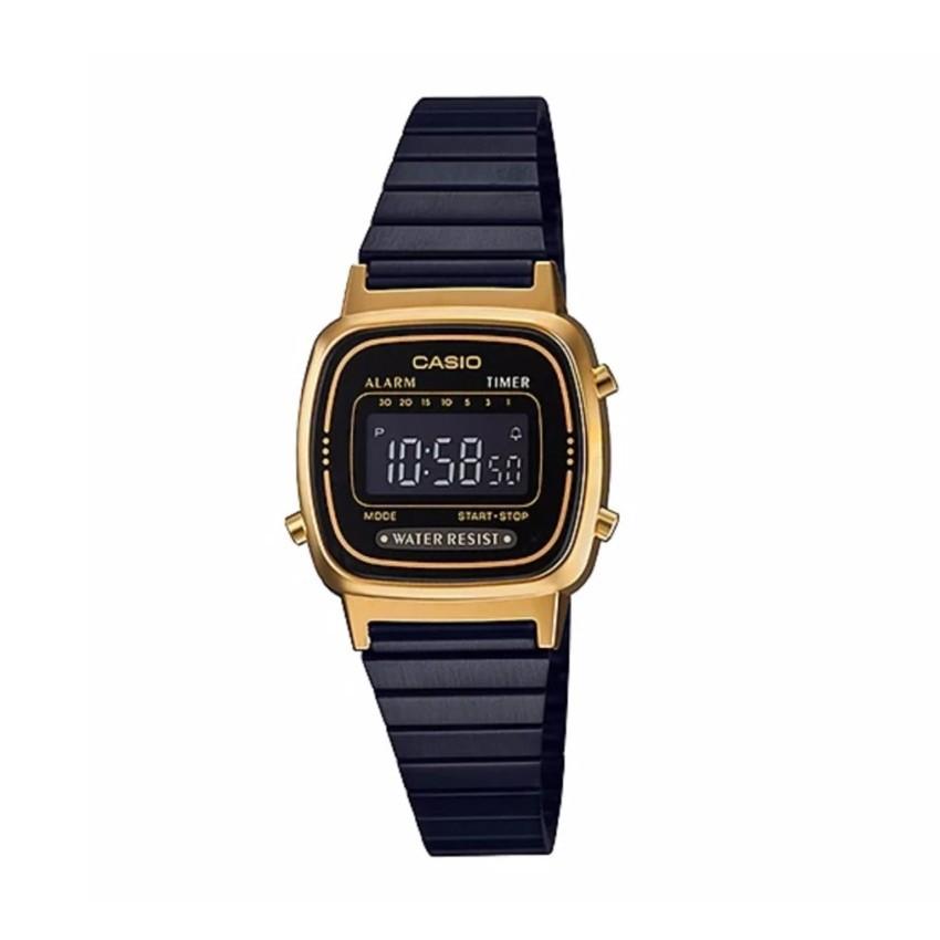 นาฬิกาข้อมือ นาฬิกาข้อมือแฟชั่น Casio Standard สายสแตนเลส รุ่น LA670WEGB-1BDF (สีดำ/ ทอง ) นาฬิกาข้อมือ(เลือกสีทักแชท)