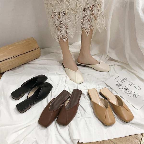 รองเท้าคัชชูเปิดส้นผู้หญิง รองเท้าคัชชูเปิดส้น Baotou รองเท้าแบนเด็กรองเท้าเดียว 2021 ฤดูใบไม้ผลิเทรนด์ใหม่รองเท้าสุทธิส