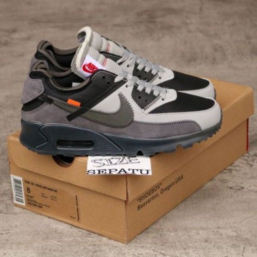 Nike Airmax 90 X Off รองเท้าผ้าใบแฟชั่นสีขาว/สีเทา