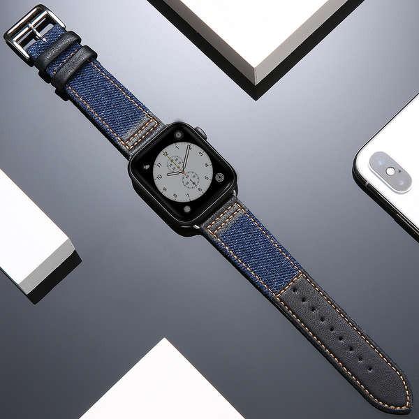 สาย applewatch สายนาฬิกา Apple ที่ใช้งานได้หนัง applewatch denim iwatch123456 รุ่น SE สายรัดแบรนด์ไทด์
