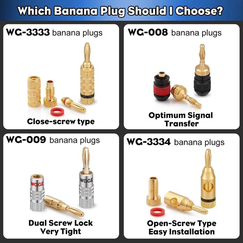 24k Gold Dual Screw Lock Speaker WGGE WG-009 Banana Plugs Audio Jack 5 Pairs