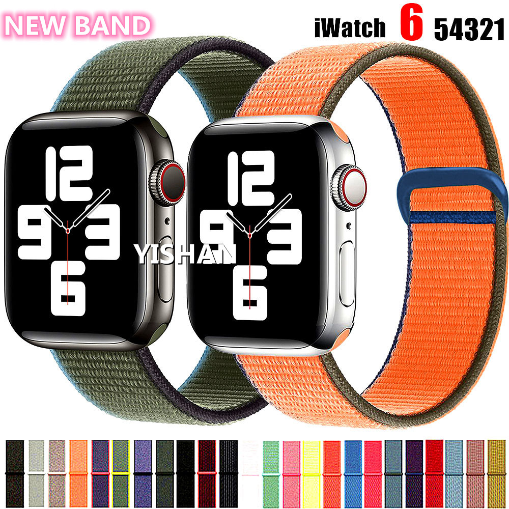 Nylon Strap for Apple watch band 44mm 40mm 42mm 38mm smartwatch wristband belt sport loop bracelet iWatch series 3 4 5 6 se band