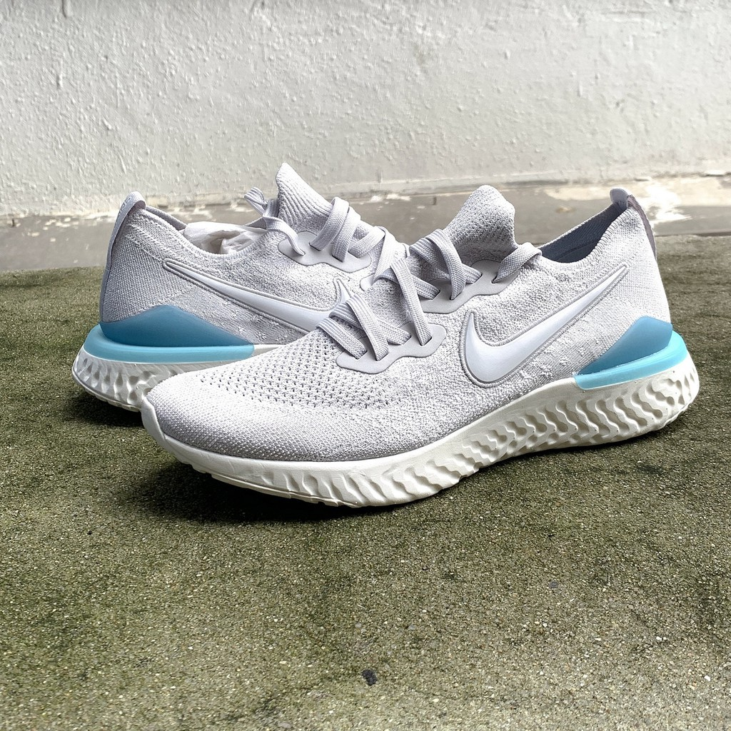 NIKE EPIC REACT FLYKNIT 2 สีเทาสีขาวสีเทาสีเทาสีน้ำเงินรองเท้าวิ่ง ...