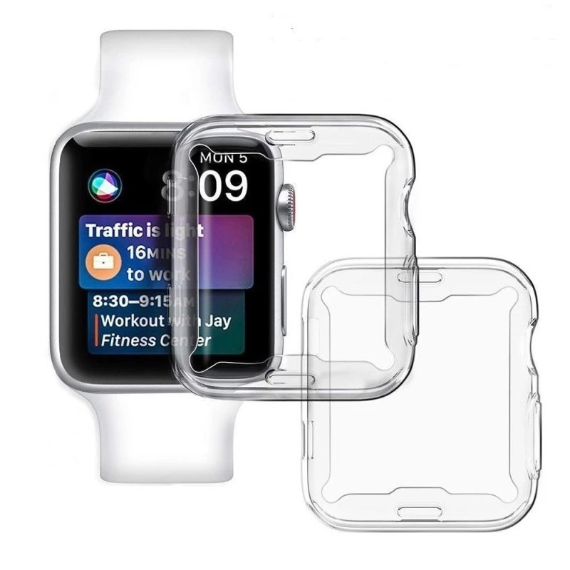 Slim Full Case for Apple Watch Series 6 5 4 3 2 1 SE Silicone Cover for iWatch 38 40 42 44MM Clear TPU Screen Protector
