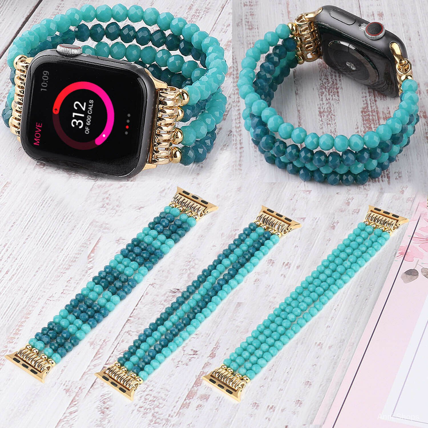 Blue Turquoise Beads Bangle Strap For Apple Watch Band 40mm 42mm 38mm 44mm Elastic Bracelet For iWatch Series 1 2 3 4 5