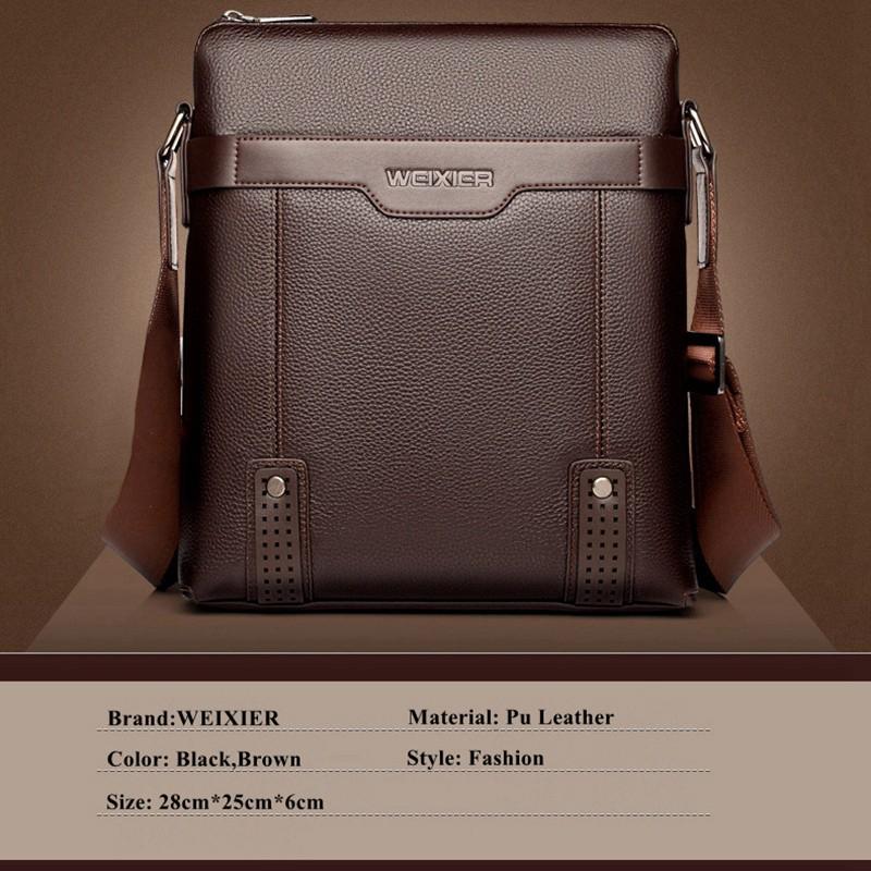 WEIXIER Men/'s PU Leather Messenger Briefcase Bag Crossbody Handbag Shoulder Bag