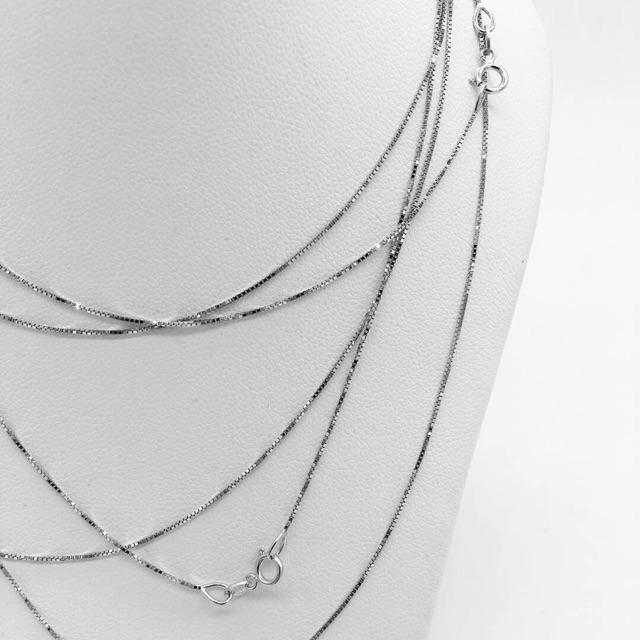 #สร้อยทองคำขาว18k แท้ นำเข้าจากอิตาลี ลายBox chain เส้นเล็กๆ