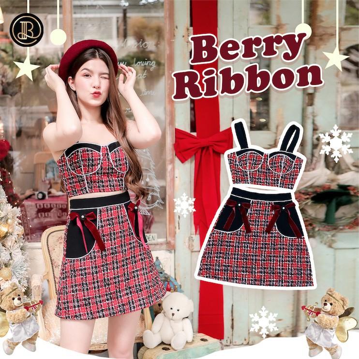 ชุดเซท ชุดเสื้อกางเกง Berry Ribbon : BLT Brand : ชุดเซ็ตเสื้อแขนกุดกระโปรงลายตารางผ้าสไตล์ยุโรป